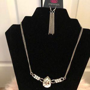 A Silver diamond studded necklace